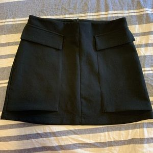 Black Mini Skirt With Patch Pockets